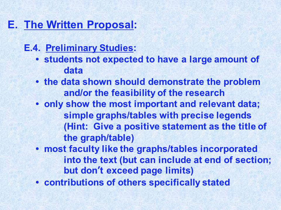 E.The Written Proposal: E.4. Preliminary Studies: students not expected to have a large amount of data the data shown should demonstrate the problem a