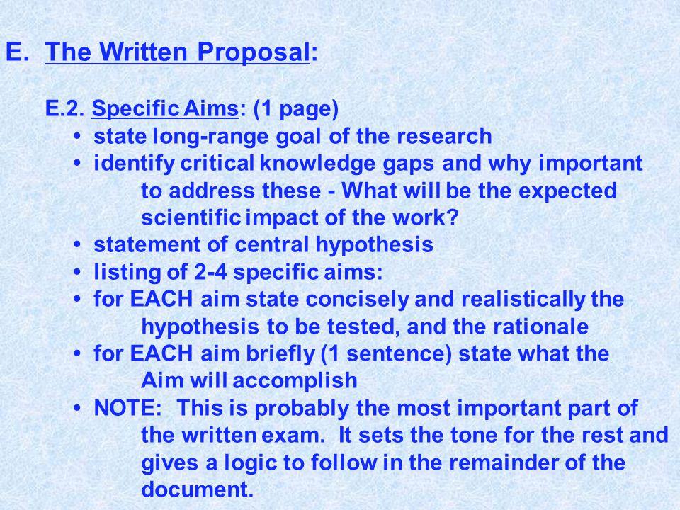 E.The Written Proposal: E.2.
