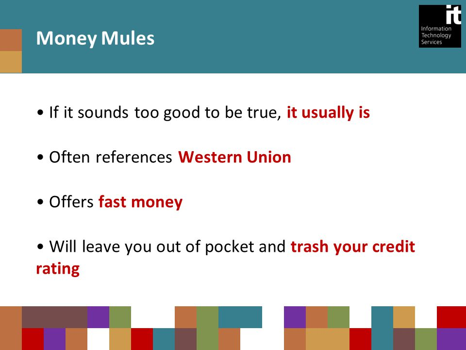 If it sounds too good to be true, it usually is Often references Western Union Offers fast money Will leave you out of pocket and trash your credit rating