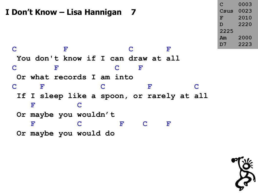 I Don't Know – Lisa Hannigan LAST Am x2 F x2 If you walk, my way D D I will keep my head F F We will feel our way Am x2 In the dark C x2 D7 x2 Or maybe not F C F C F We could shoot it down anyway   C F C F   repeat page + fade C0003 Csus0023 F2010 D2220 2225 Am2000 D72223