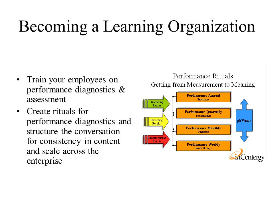 Becoming a Learning Organization Train your employees on performance diagnostics & assessment Create rituals for performance diagnostics and structure