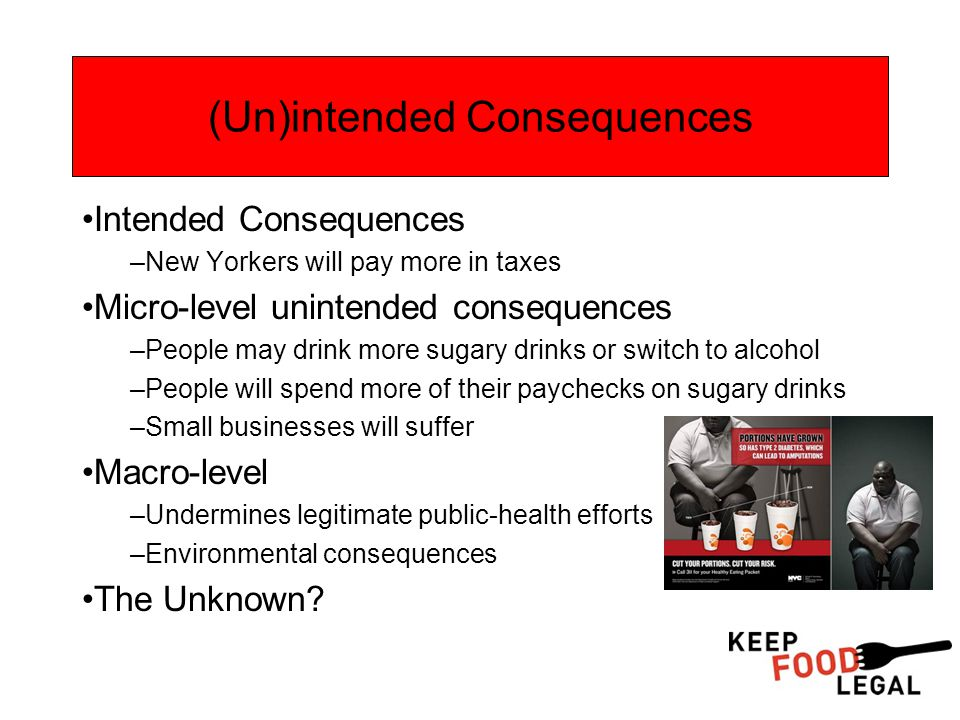 (Un)intended Consequences Intended Consequences –New Yorkers will pay more in taxes Micro-level unintended consequences –People may drink more sugary drinks or switch to alcohol –People will spend more of their paychecks on sugary drinks –Small businesses will suffer Macro-level –Undermines legitimate public-health efforts –Environmental consequences The Unknown