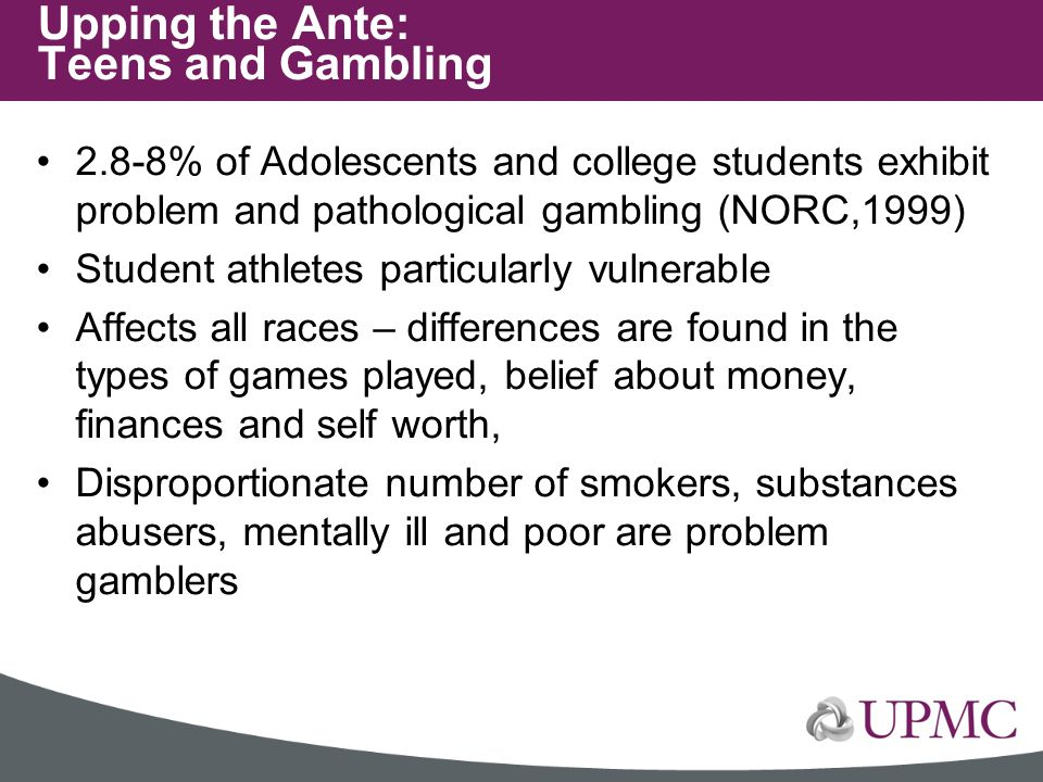 2.8-8% of Adolescents and college students exhibit problem and pathological gambling (NORC,1999) Student athletes particularly vulnerable Affects all
