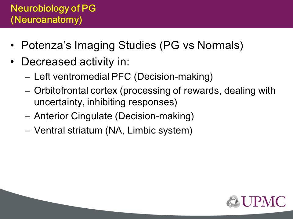 Neurobiology of PG (Neuroanatomy) Potenza's Imaging Studies (PG vs Normals) Decreased activity in: –Left ventromedial PFC (Decision-making) –Orbitofro