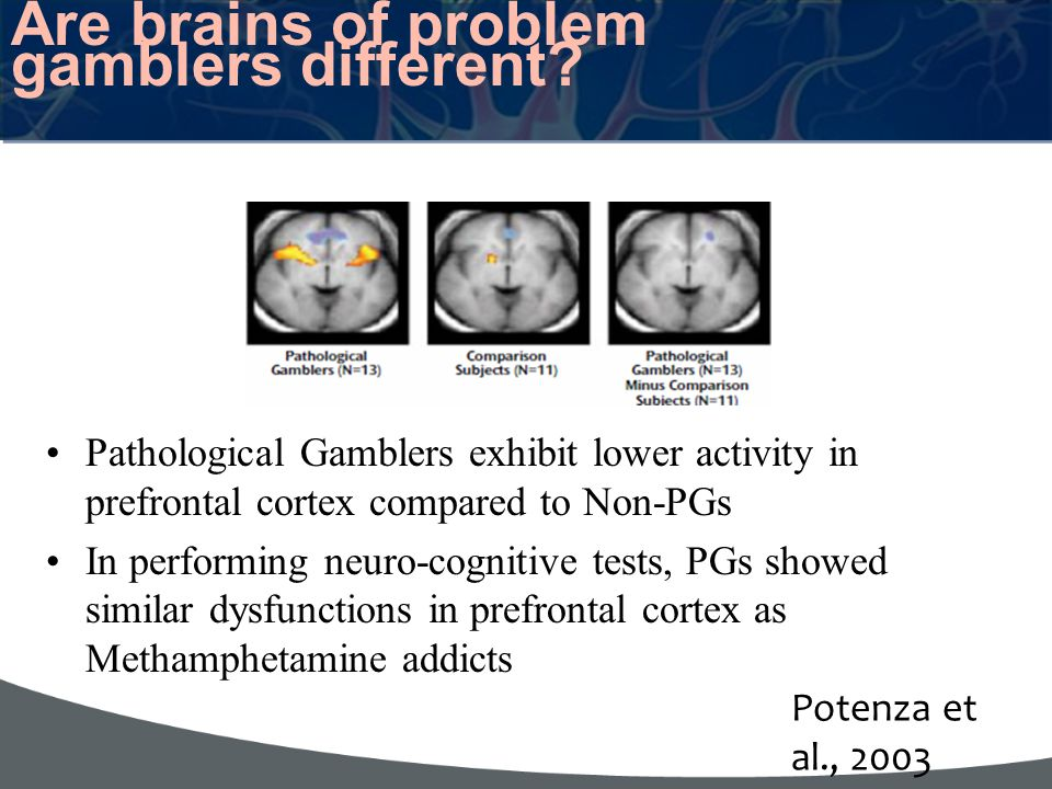 Are brains of problem gamblers different? Pathological Gamblers exhibit lower activity in prefrontal cortex compared to Non-PGs In performing neuro-co
