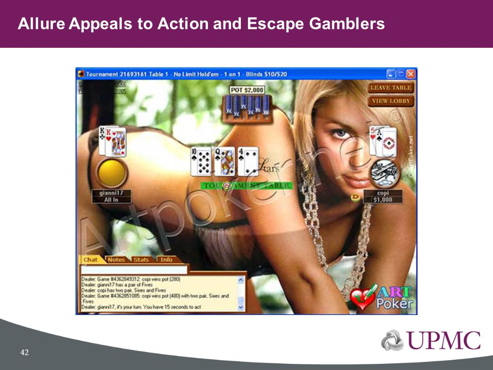 Allure Appeals to Action and Escape Gamblers 42