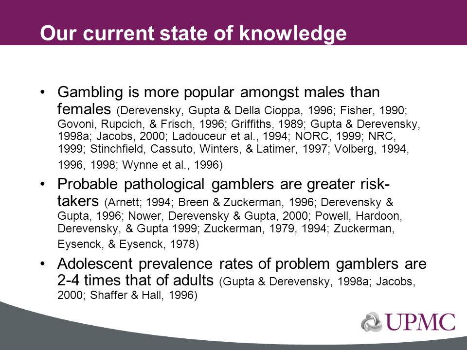 Our current state of knowledge concerning youth gambling problems…. Gambling is more popular amongst males than females (Derevensky, Gupta & Della Cio