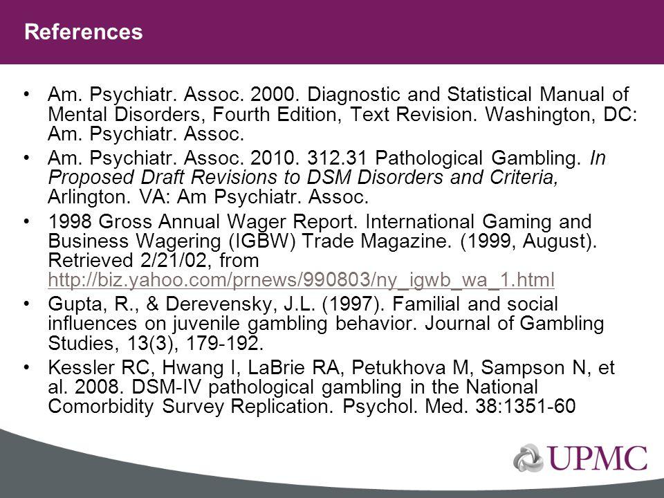 Am. Psychiatr. Assoc. 2000. Diagnostic and Statistical Manual of Mental Disorders, Fourth Edition, Text Revision. Washington, DC: Am. Psychiatr. Assoc