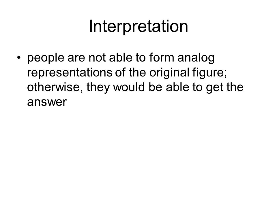 Interpretation people are not able to form analog representations of the original figure; otherwise, they would be able to get the answer