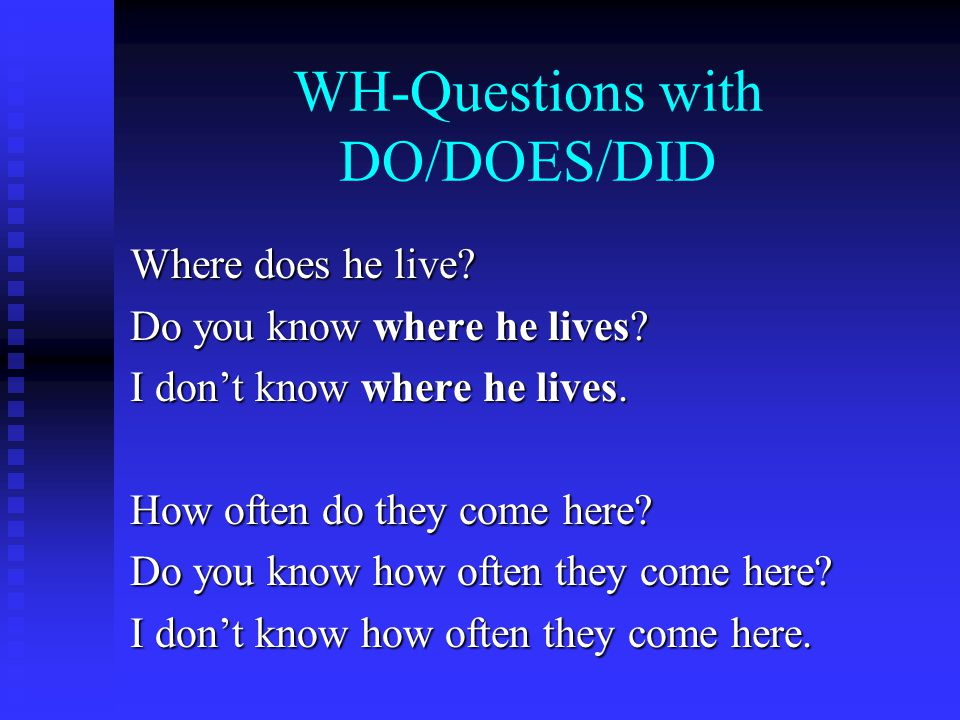 WH-Questions with DO/DOES/DID Where does he live. Do you know where he lives.