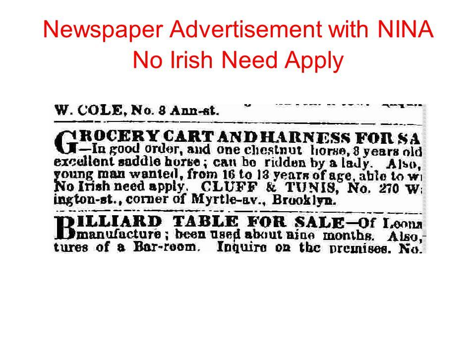 Newspaper Advertisement with NINA No Irish Need Apply 1