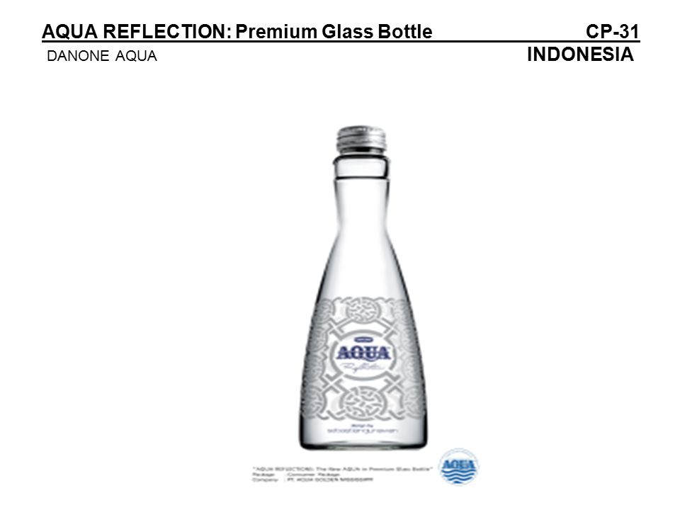 AQUA REFLECTION: Premium Glass BottleCP-31 DANONE AQUA INDONESIA