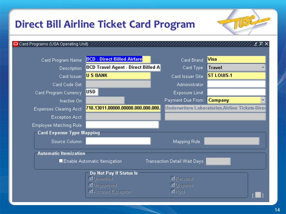 14 Direct Bill Airline Ticket Card Program