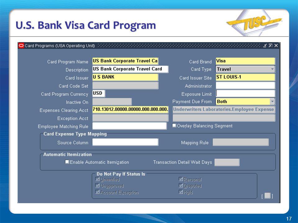 17 U.S. Bank Visa Card Program