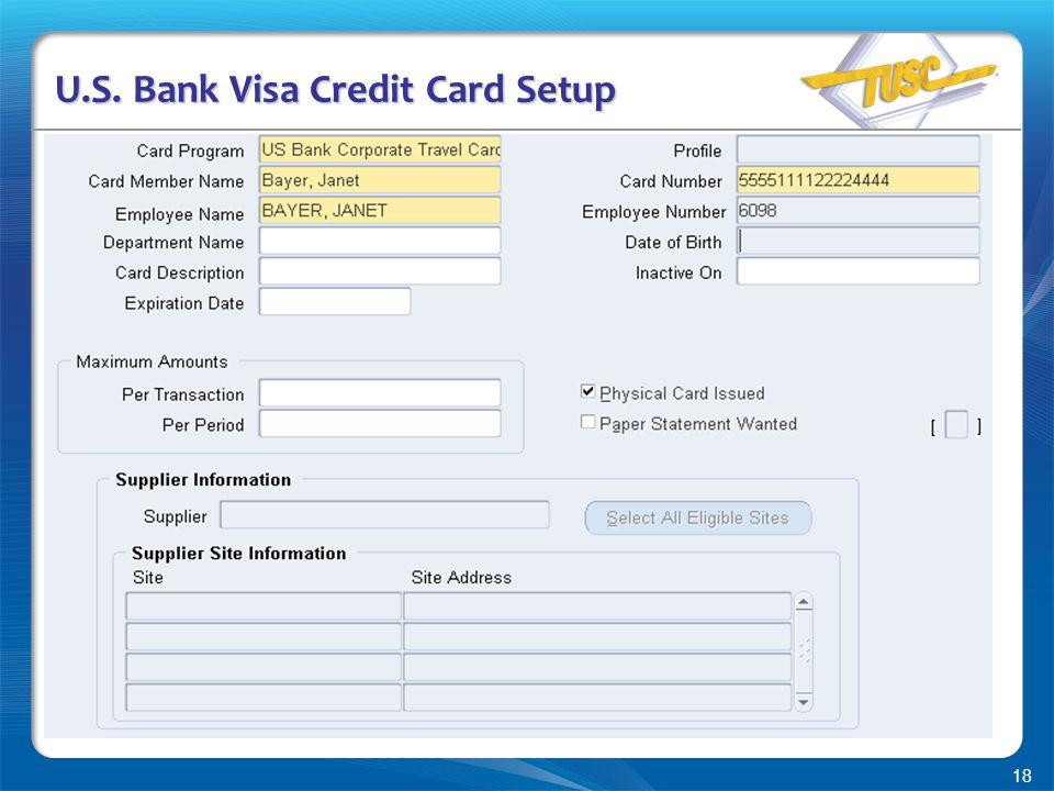 18 U.S. Bank Visa Credit Card Setup