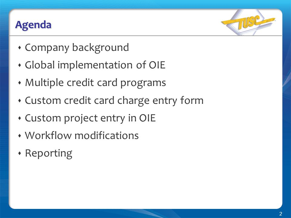 2 Agenda  Company background  Global implementation of OIE  Multiple credit card programs  Custom credit card charge entry form  Custom project entry in OIE  Workflow modifications  Reporting