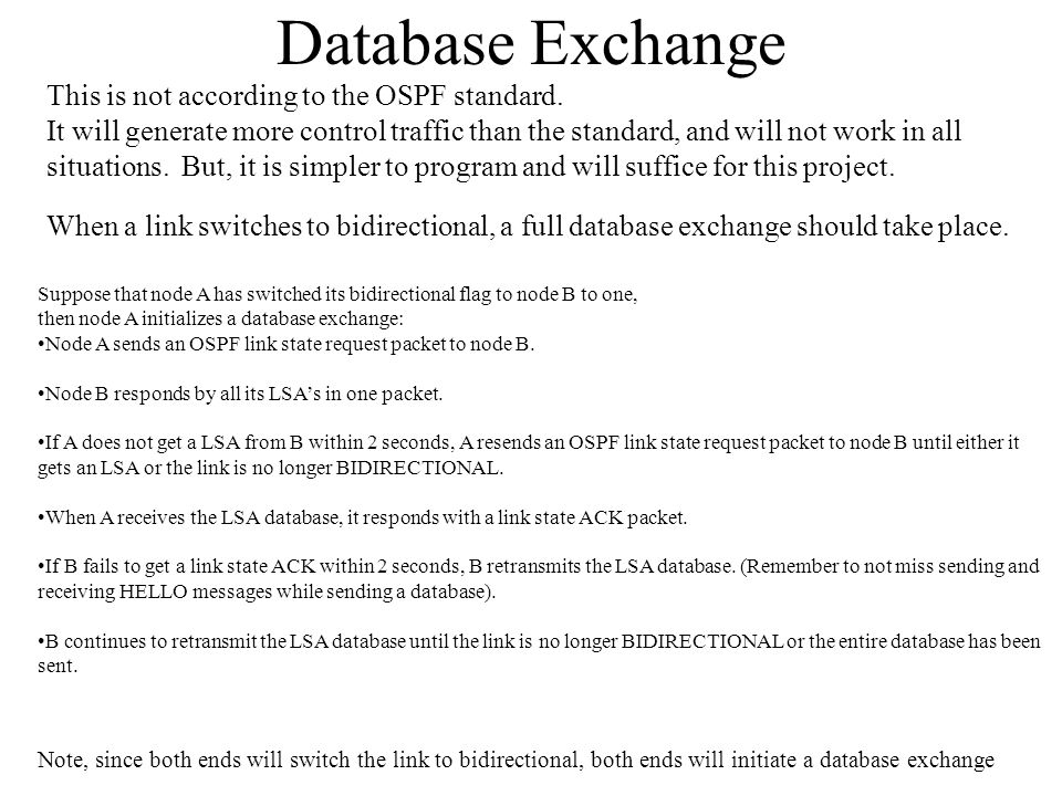 Database Exchange This is not according to the OSPF standard. It will generate more control traffic than the standard, and will not work in all situat