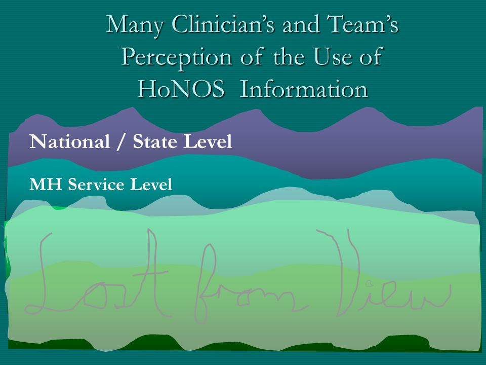 National / State Level Many Clinician's and Team's Perception of the Use of HoNOS Information MH Service Level
