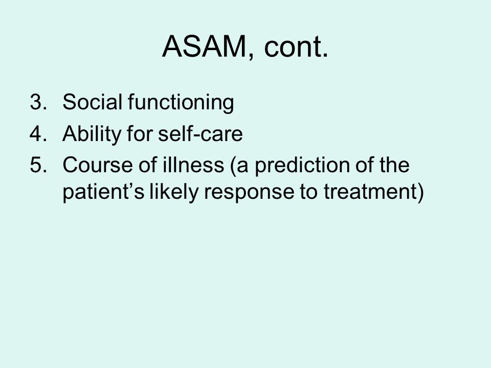 LEVEL OF CARE LEVEL OF CARE IS BASED ON ASSESSMENT INTENSIVE CASE MANAGEMENT AND INPATIENT CARE FOR MOST SEVERE Outpatient substance dependency treatment and mental health counseling for less severe.
