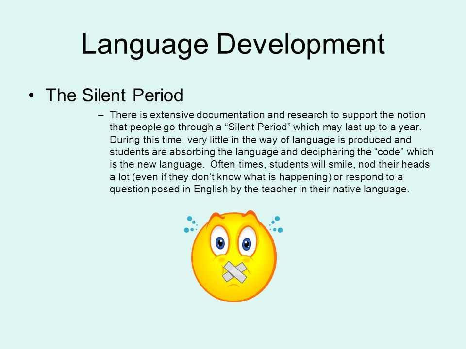 Language Development The Silent Period –There is extensive documentation and research to support the notion that people go through a Silent Period which may last up to a year.