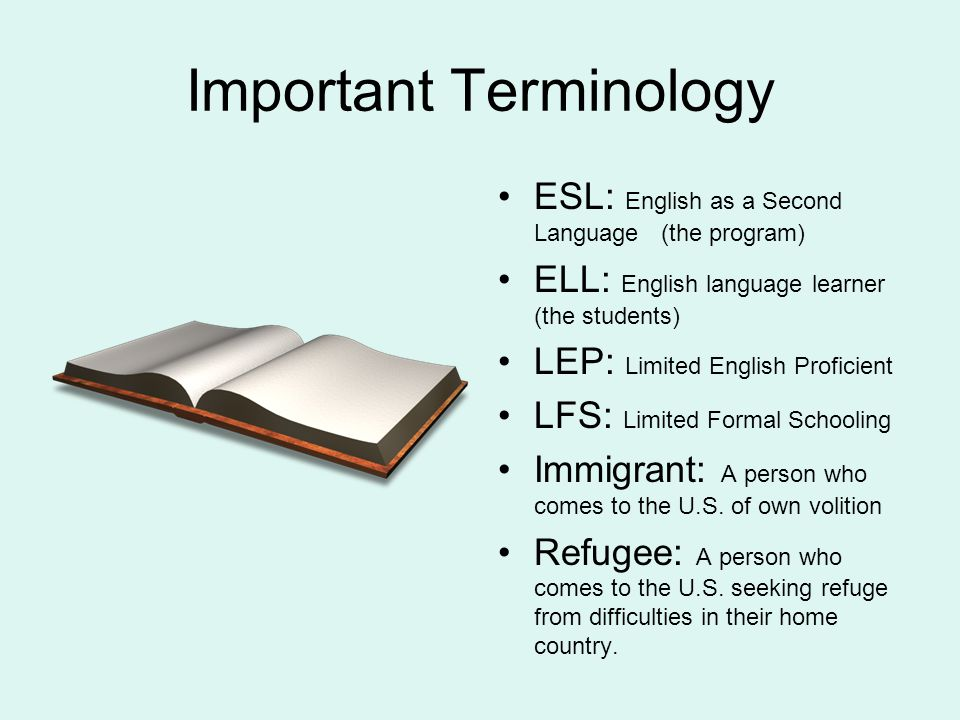 Important Terminology ESL: English as a Second Language (the program) ELL: English language learner (the students) LEP: Limited English Proficient LFS: Limited Formal Schooling Immigrant: A person who comes to the U.S.