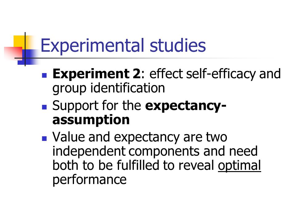 Experimental studies Experiment 2: effect self-efficacy and group identification Support for the expectancy- assumption Value and expectancy are two i