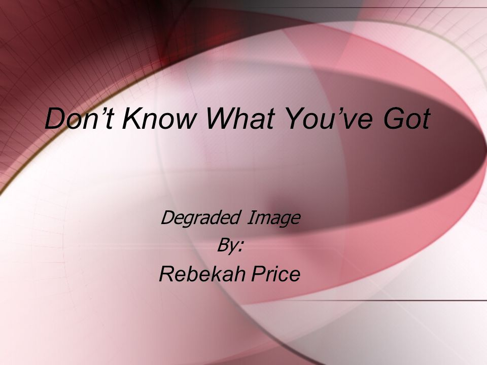 Don't Know What You've Got Degraded Image By: Rebekah Price Degraded Image By: Rebekah Price