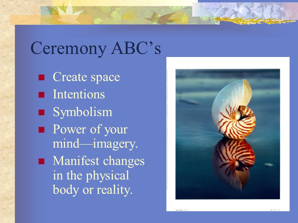 Ceremony ABC's Create space Intentions Symbolism Power of your mind—imagery.