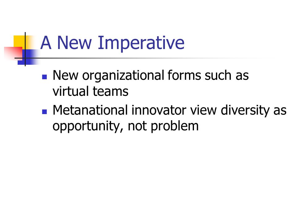 A New Imperative New organizational forms such as virtual teams Metanational innovator view diversity as opportunity, not problem