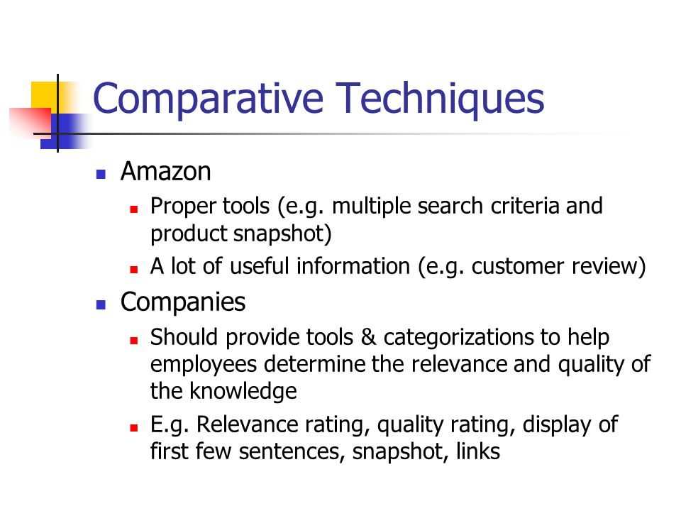 Comparative Techniques Amazon Proper tools (e.g.