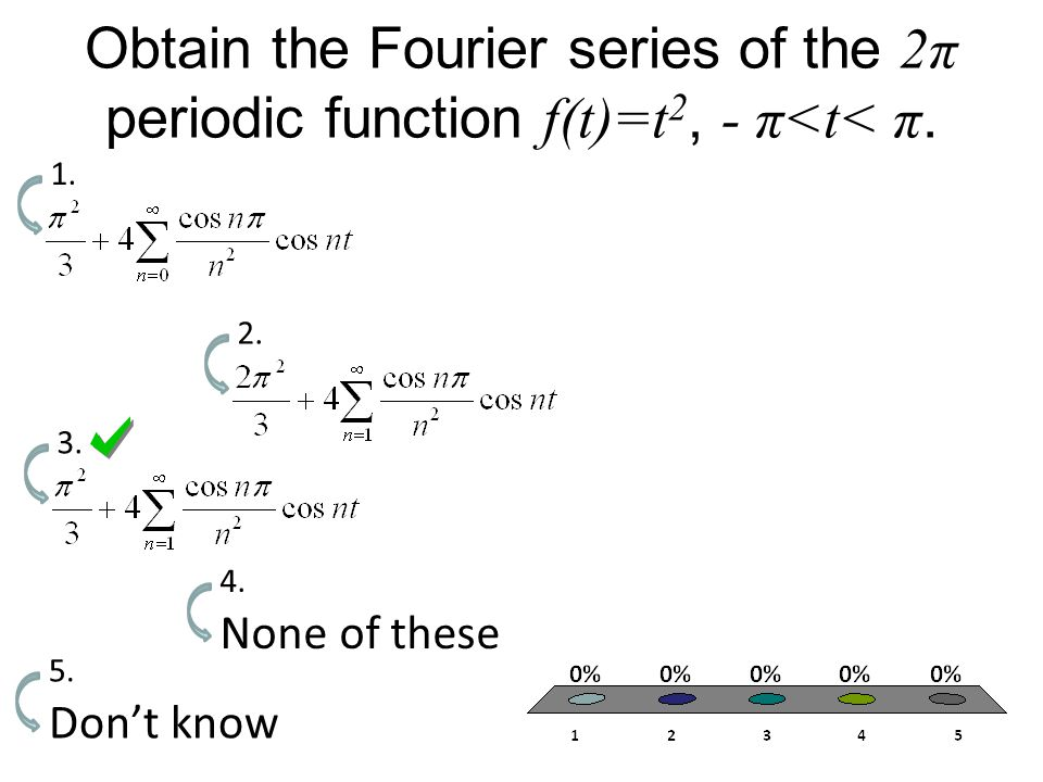 Obtain the Fourier series of the 2π periodic function f(t)=t 2, - π<t< π.