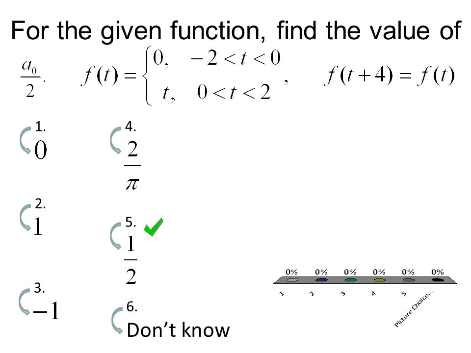 For the given function, find the value of 1. 2. 3. 4. 5. Don't know 6.