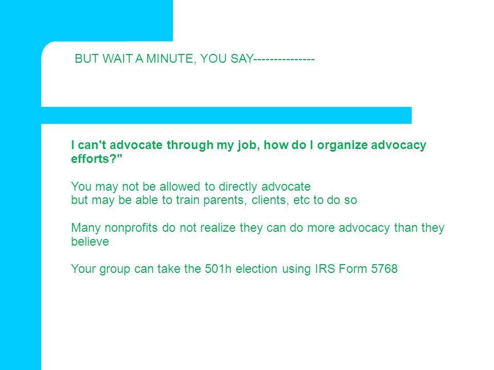 I can't advocate through my job, how do I organize advocacy efforts?