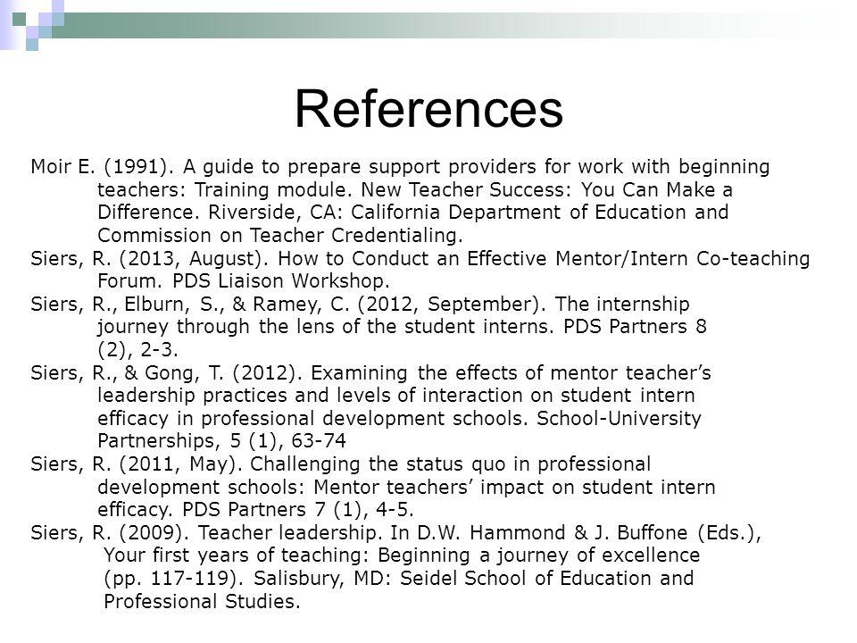 References Moir E. (1991).
