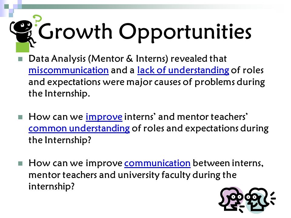 Growth Opportunities Data Analysis (Mentor & Interns) revealed that miscommunication and a lack of understanding of roles and expectations were major causes of problems during the Internship.