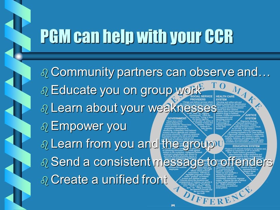 PGM can help with your CCR b Community partners can observe and… b Educate you on group work b Learn about your weaknesses b Empower you b Learn from you and the group b Send a consistent message to offenders b Create a unified front