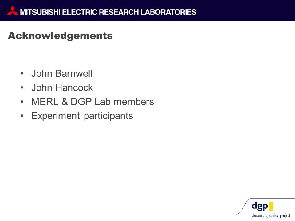 Acknowledgements John Barnwell John Hancock MERL & DGP Lab members Experiment participants