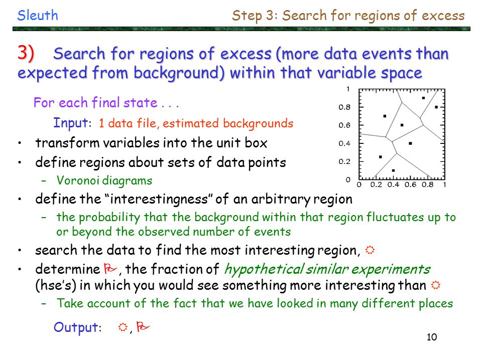 10 Input : 1 data file, estimated backgrounds transform variables into the unit box define regions about sets of data points –Voronoi diagrams define the interestingness of an arbitrary region –the probability that the background within that region fluctuates up to or beyond the observed number of events search the data to find the most interesting region, R determine P, the fraction of hypothetical similar experiments (hse's) in which you would see something more interesting than R –Take account of the fact that we have looked in many different places For each final state...