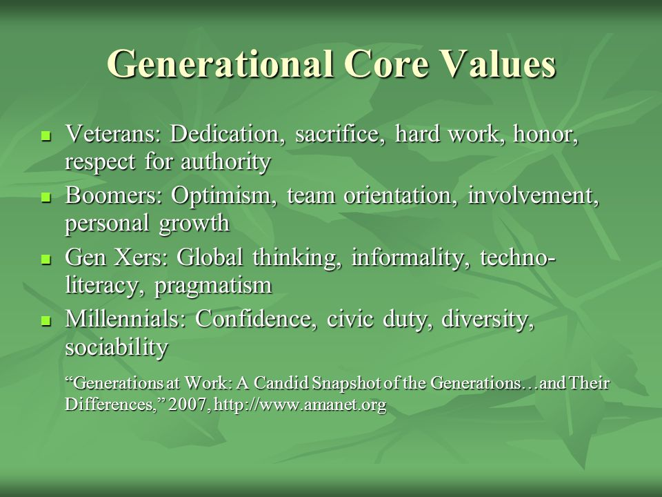 Generational Core Values Veterans: Dedication, sacrifice, hard work, honor, respect for authority Veterans: Dedication, sacrifice, hard work, honor, r