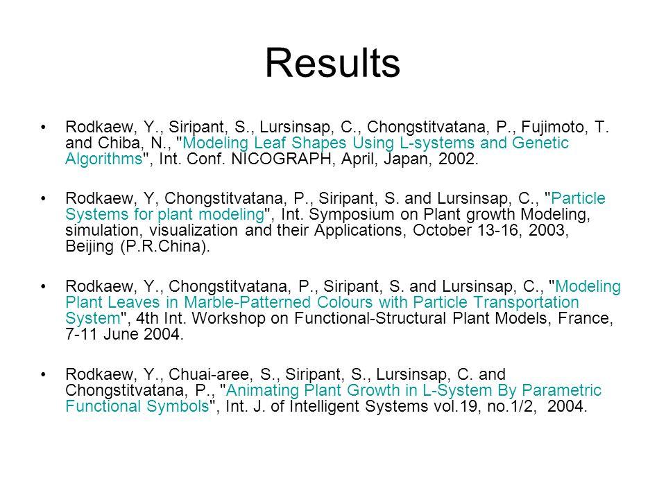 Results Rodkaew, Y., Siripant, S., Lursinsap, C., Chongstitvatana, P., Fujimoto, T.