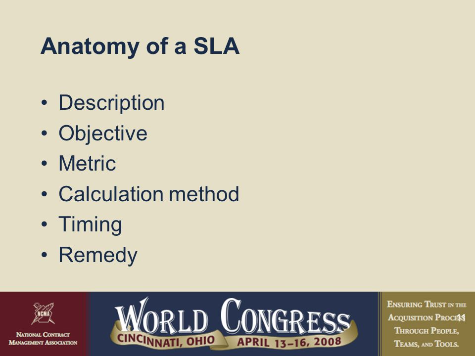 11 Anatomy of a SLA Description Objective Metric Calculation method Timing Remedy