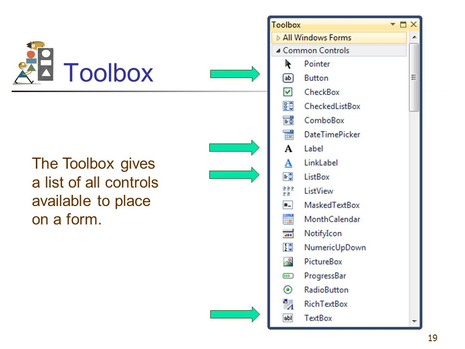 19 Toolbox The Toolbox gives a list of all controls available to place on a form.