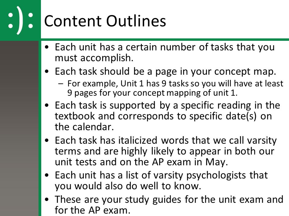 Content Outlines Each unit has a certain number of tasks that you must accomplish. Each task should be a page in your concept map. –For example, Unit