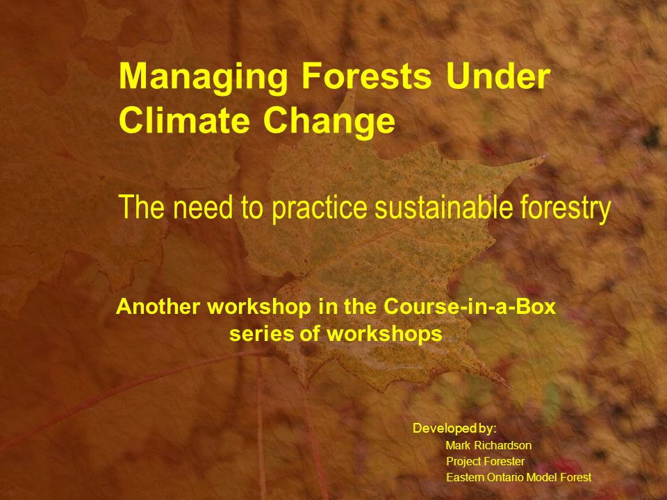 Managing Forests Under Climate Change The need to practice sustainable forestry Developed by: Mark Richardson Project Forester Eastern Ontario Model Forest Another workshop in the Course-in-a-Box series of workshops