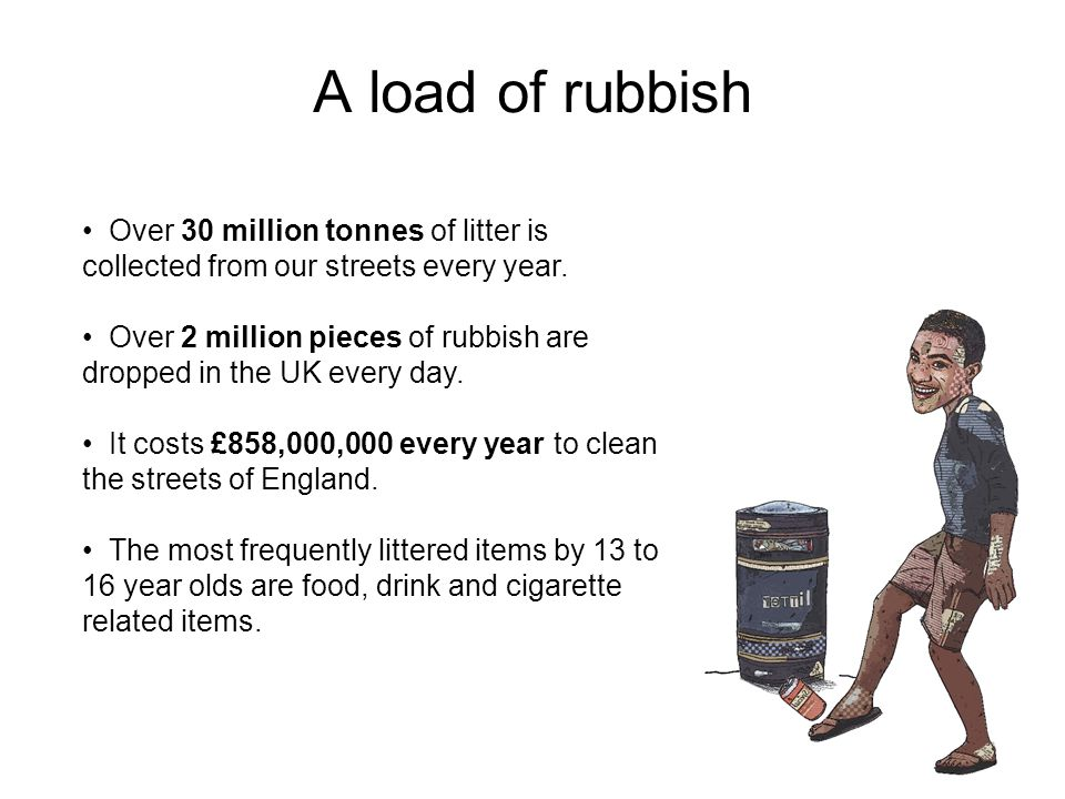 Teenage dirtbags A 2002 survey found that:  Many teenagers admitted to dropping rubbish on an almost daily basis.