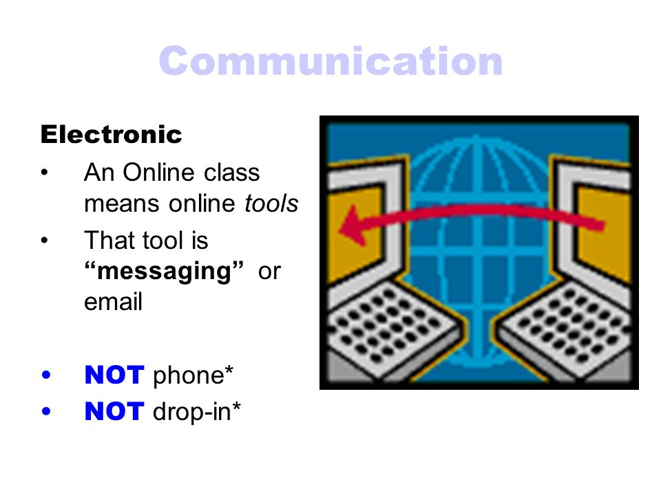 "Communication Electronic An Online class means online tools That tool is ""messaging"" or email NOT phone* NOT drop-in*"