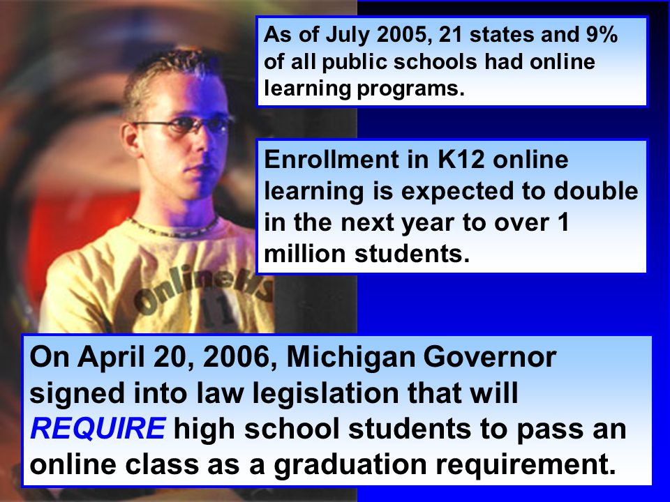 As of July 2005, 21 states and 9% of all public schools had online learning programs. Enrollment in K12 online learning is expected to double in the n