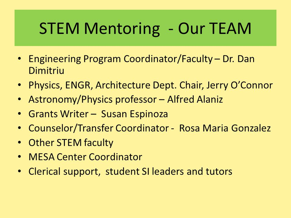STEM Mentoring - Our TEAM Engineering Program Coordinator/Faculty – Dr. Dan Dimitriu Physics, ENGR, Architecture Dept. Chair, Jerry O'Connor Astronomy