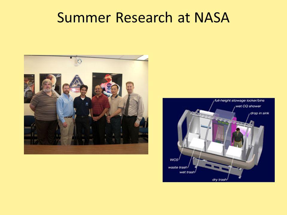 Summer Research at NASA