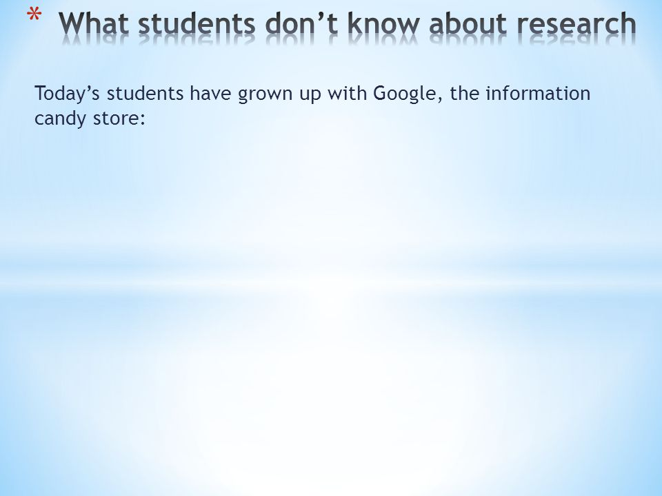 Today's students have grown up with Google, the information candy store: